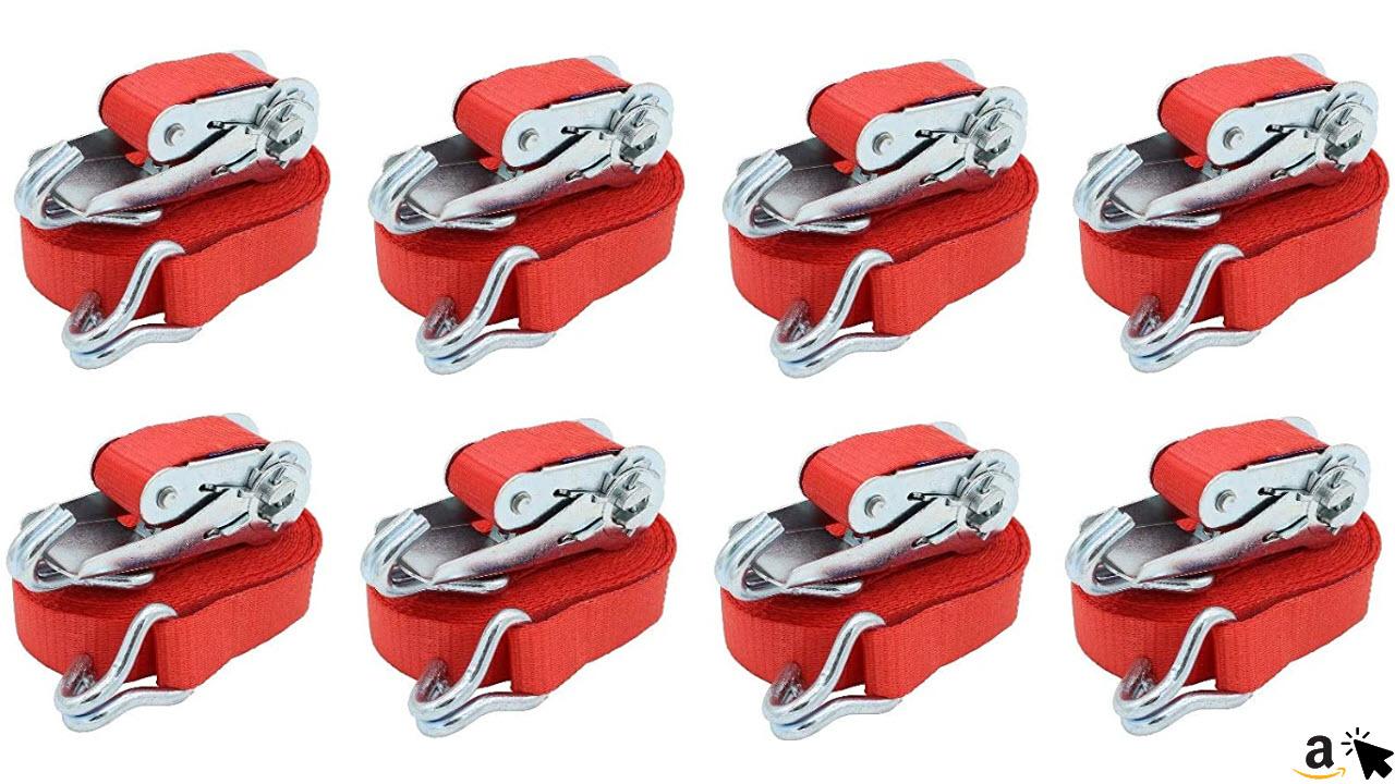 10 x Profi Spanngurte mit Hacken 800kg 25mm 6 Meter 0,8t zweiteilig Ratschengurt Zurrgurt DIN EN 12195-2 Rot