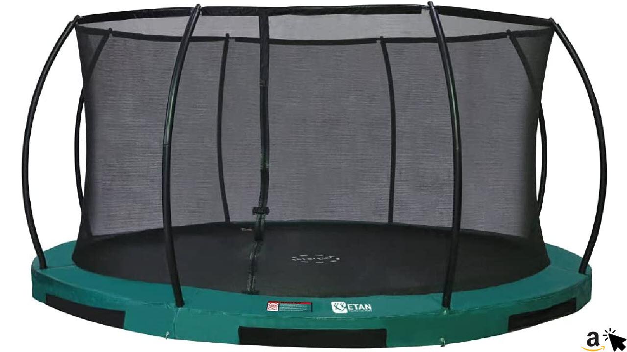 Etan Hi–Flyer Outdoor Boden Trampolin mit Sicherheitsnetz, Inground Gartentrampolin mit Randabdeckung, Kinder Trampolin zum eingraben