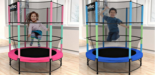Kinetic Sports Kinder Trampolin Jumper 140cm Sicherheitsnetz Randabdeckung Gummiseil-Federung