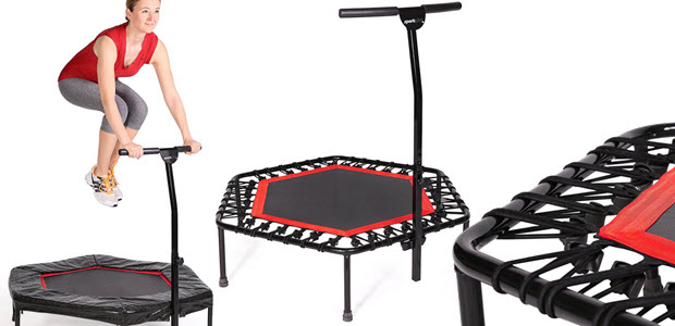 SportPlus 110cm Indoor Fitness Trampolin mit Gummiseilfederung Randabdeckung Haltegriff