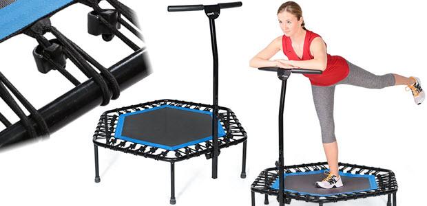 SportPlus Fitness Trampolin mit Bungee-Seilsystem höhenverstellbarer Haltegriff
