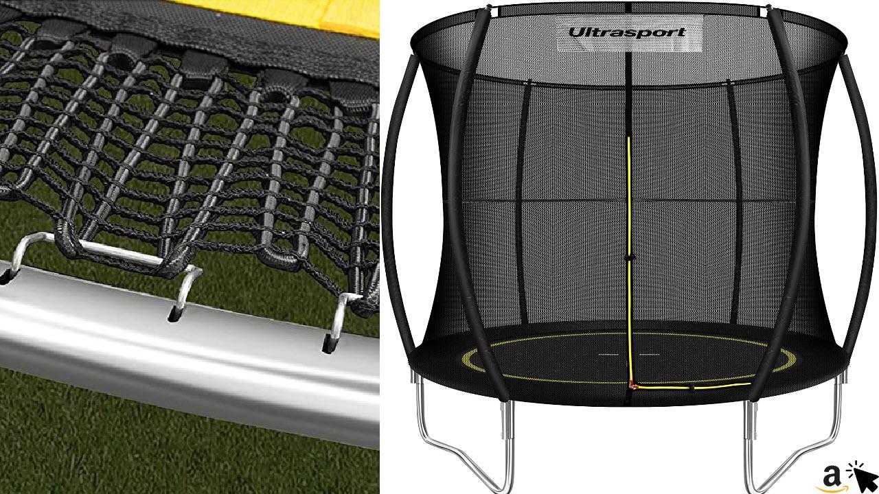 Ultrasport Gartentrampolin, Outdoor Trampolin ohne Federn, Elastik Gummiband Sprungssystem, inkl. Sicherheitsnetz, Witterungsbeständig, bis 100kg
